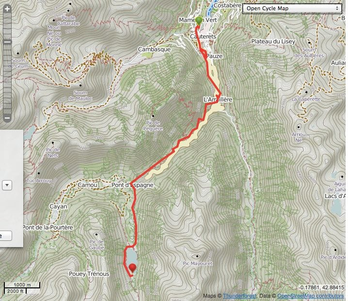 map showing the route from cauterets to lac de Gaube