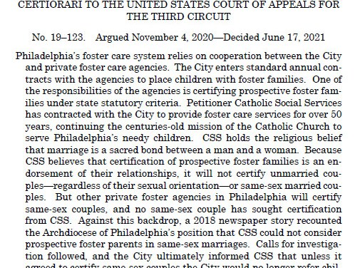 A Win for Religious Liberty in 9-0 Fulton v. Philadelphia Supreme Court Decision