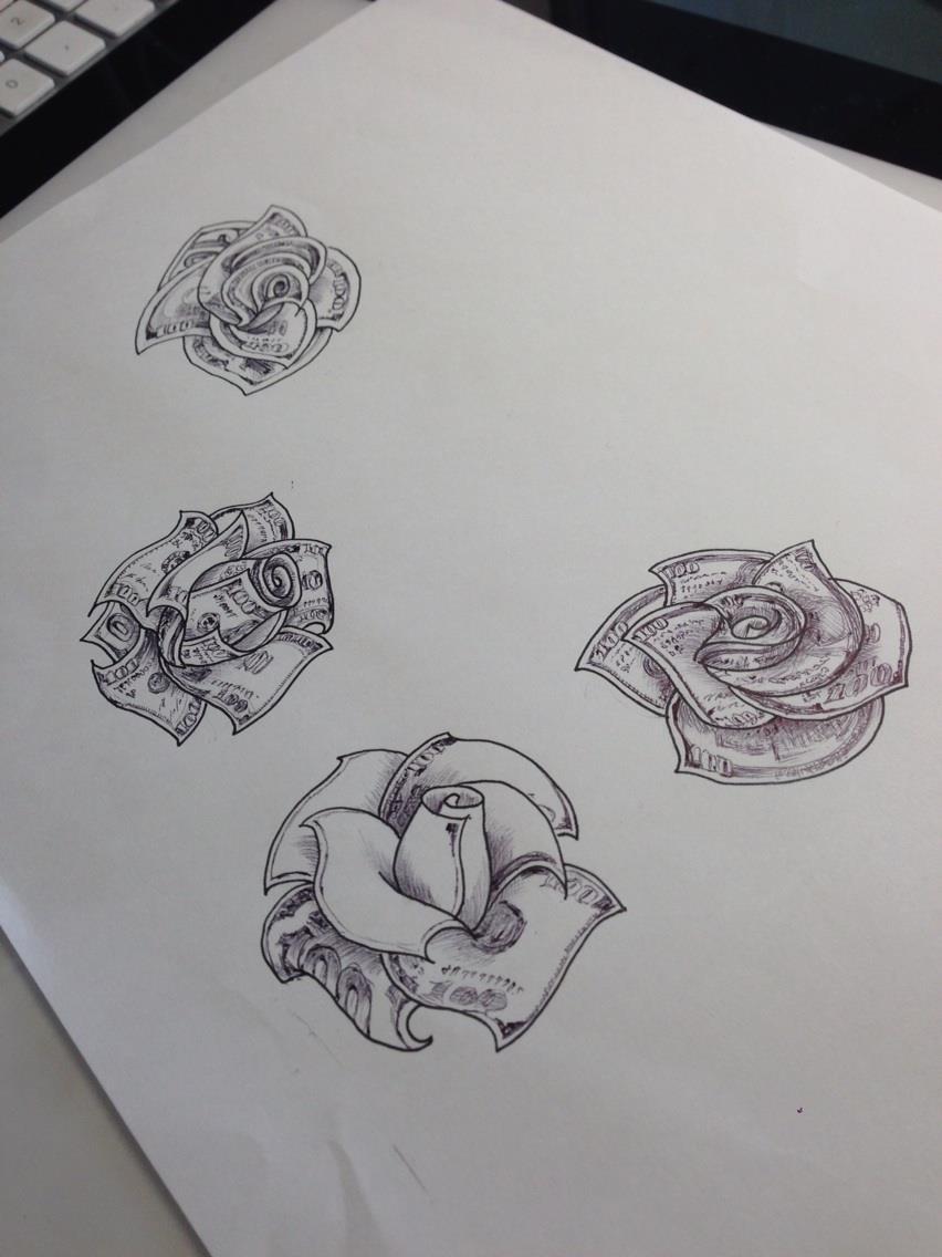 100ドル札の薔薇