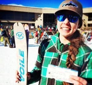 Sick skis, happy lady.
