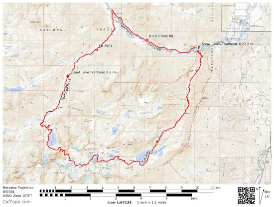 Topo for the full enchantments loop. I recommend beginning at Snow Lakes trailhead and going CCW, running the road early and taking the trail itself in a generally downhill direction.