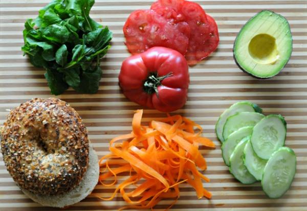 veggie-bagel-fixings-mountain-mama-cooks