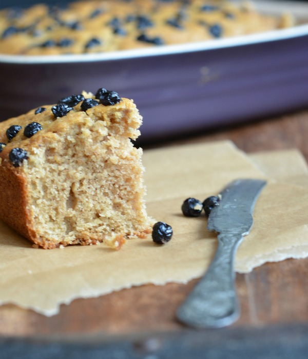 Applesauce Blueberry Snack Cake, www.mountainmamacooks.com