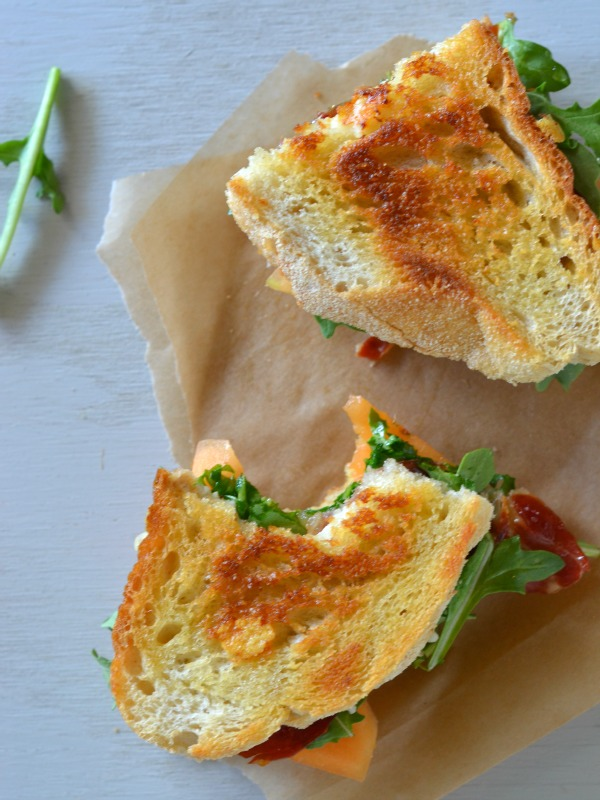 Grilled Cheese with Fontina, Crispy Prosciutto and Melon, www.mountainmamacooks.com
