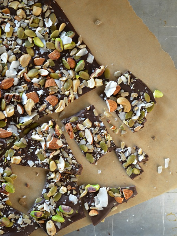 Salted Trail Mix Chocolate Bark, www.mountainmamacooks.com