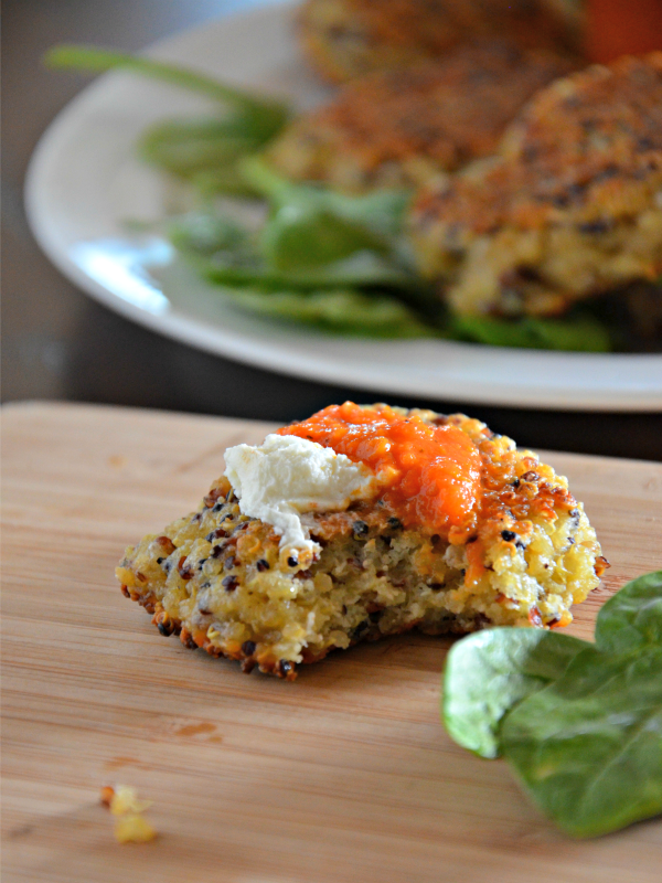 quinoa cakes with whipped feta spread, www.mountainmamcooks.com