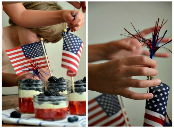 berry parfait cups with jello, red white and blue, www.mountainmamacooks.com