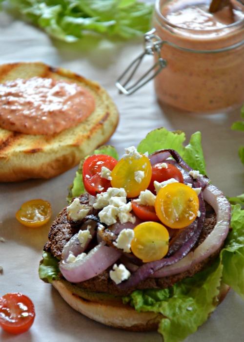 Greek Veggie Burger, www.mountainmamacooks.com