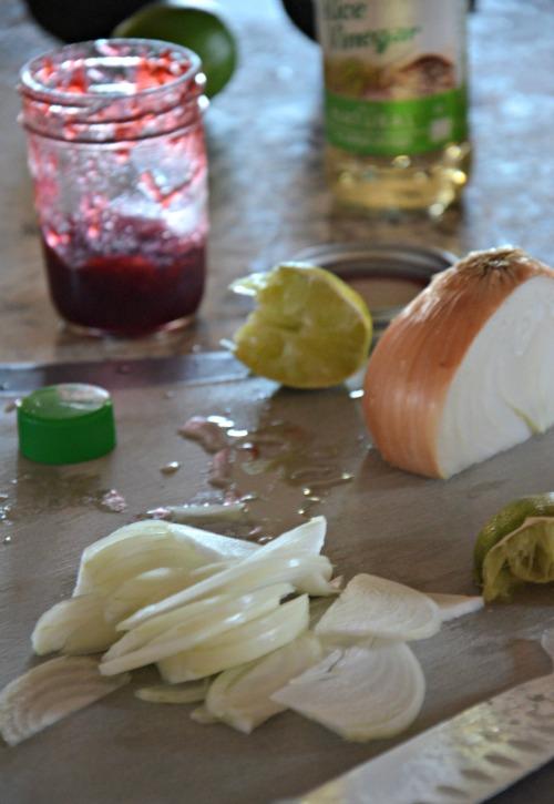 raspberry jalapeno tacos with caramelized onions, www.mountainmamacooks.com