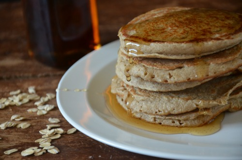 Banana Oat Blender Pancakes, www.mountainmamacooks.com #califiafarms #glutenfree #dairyfree