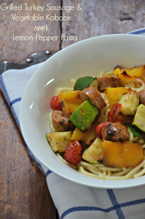 Grilled Turkey Sausage and Vegetables over Lemon Pepper Pasta, www.mountainmamacooks.com