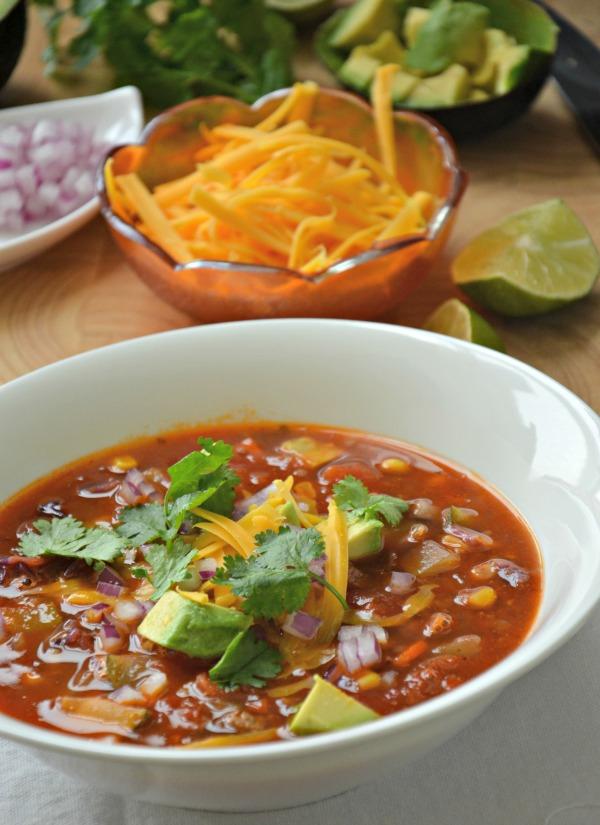 Taco Soup Recipe, www.mountainmamacooks.com #glutenfree #tacotuesday
