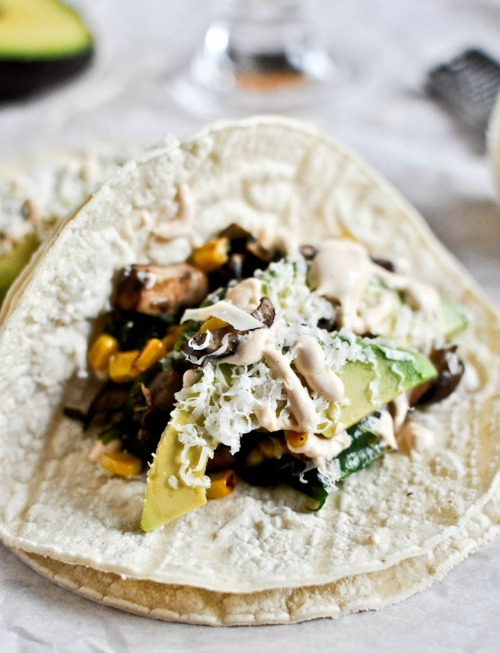 Grilled Corn, Mushroom Tacos with Chipotle Crema