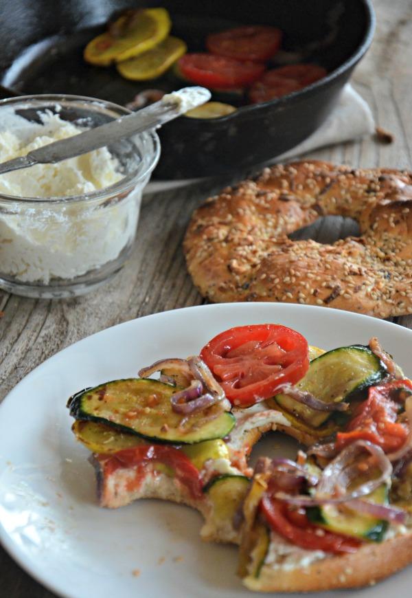 Sautéed Veggie Breakfast Bagel Sandwich