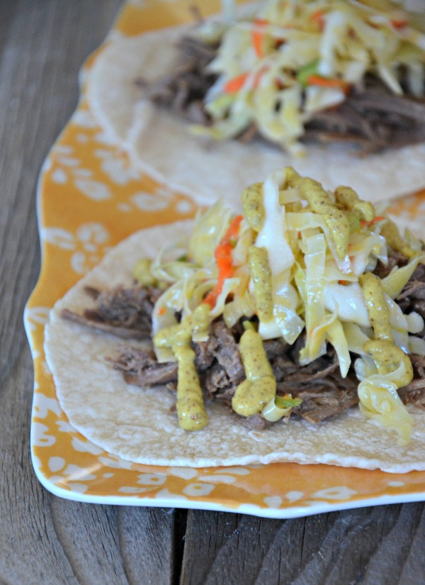 Kosher Brisket Taco with 2nd Ave Coleslaw | mountainmamacooks.com