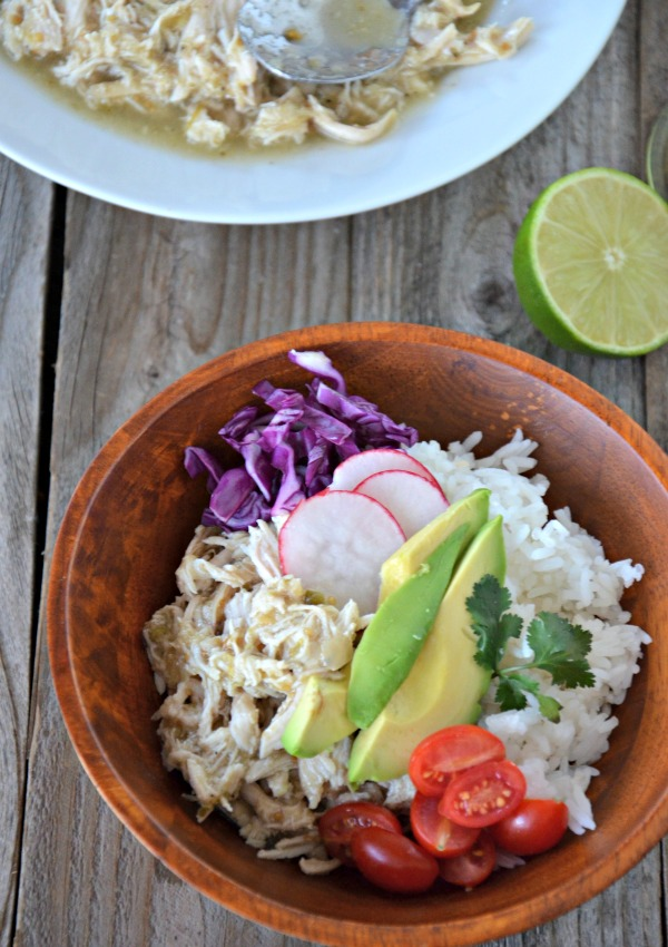 Slow Cooker Green Chili Chicken Rice Bowls | mountainmamacooks.com
