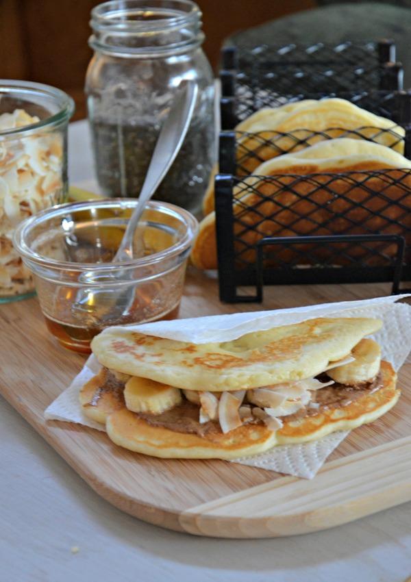 Peanut Butter & Honey Pancake Tacos with Banana, www.mountainmamacooks.com