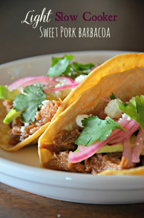 Lightened Up Slow Cooker Sweet Pork Tacos | moutntainmamacooks.com