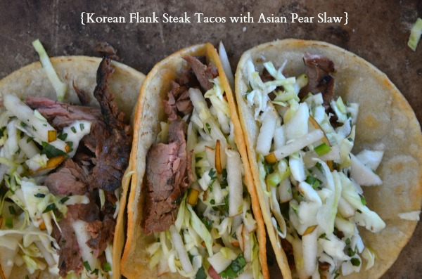Korean Flank Steak Tacos with Asian Pear Slaw | mountainmamacooks.com