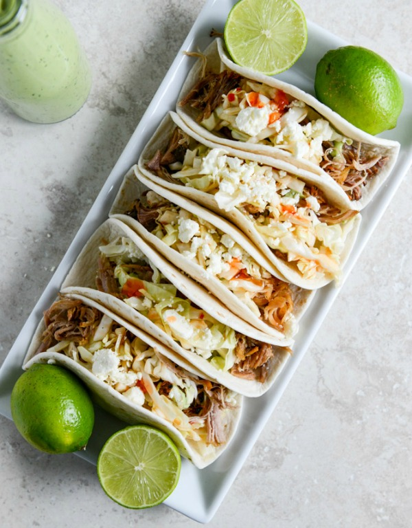 Slow Cooker Pork Tacos with Sweet Chili Slaw | mountainmamacooks.com