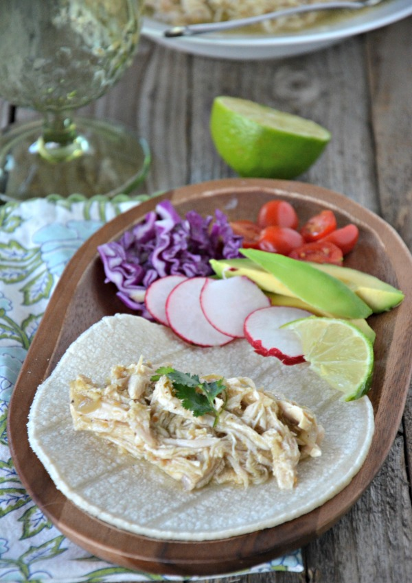 Slow Cooker Green Chili Chicken Tacos, www.mountainmamacooks.com