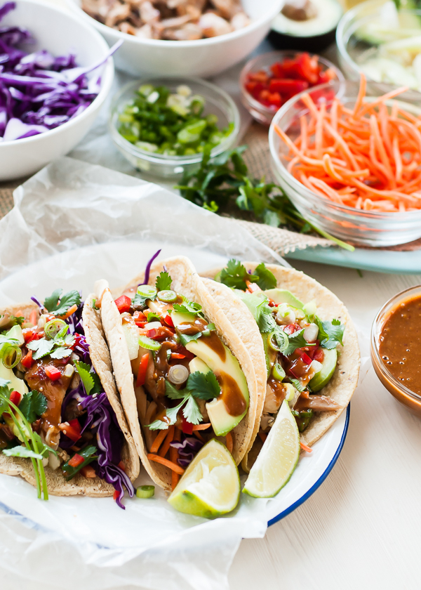 Thai Chicken Tacos with Peanut Sauce by Cafe Johnsonia   mountainmamacooks.com