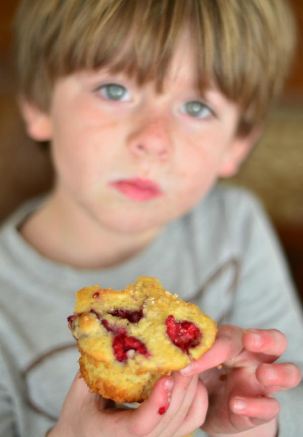 Fresh Raspberry Muffins | mountainmamacooks.com #highaltitudebaking