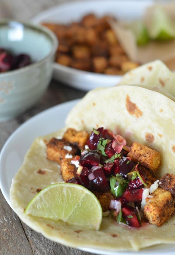 Crispy Tofu Tacos with Cherry Salsa | mountainmamacooks.com