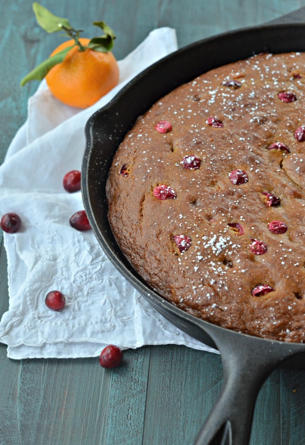 Cast Iron Cranberry Pumpkin Cake | mountainmamacooks.com