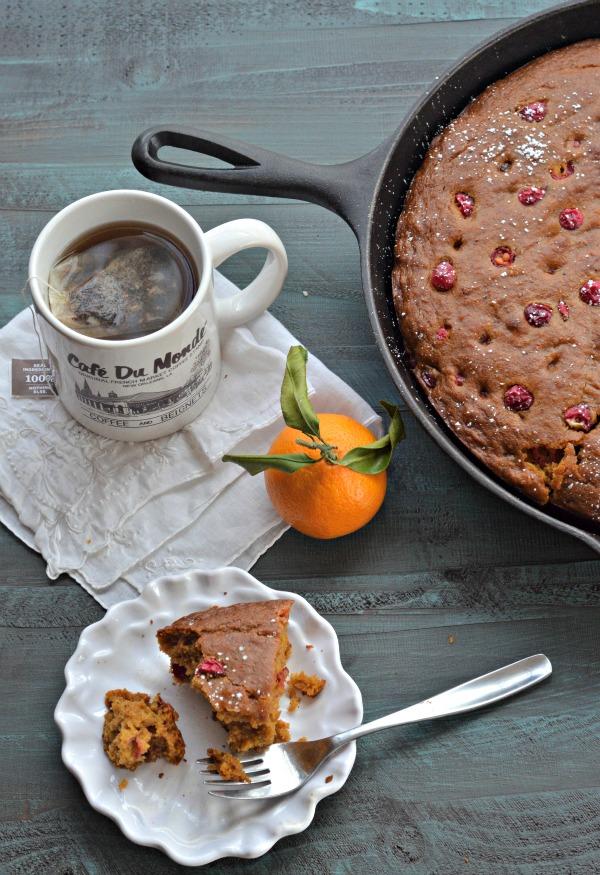 Cast Iron Cranberry Pumpkin Cake | mountainmamacooks.com
