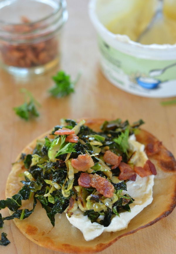 Crispy Kale and Brussels Sprout Tacos with Bacon and Whipped Feta | mountainmamacooks.com