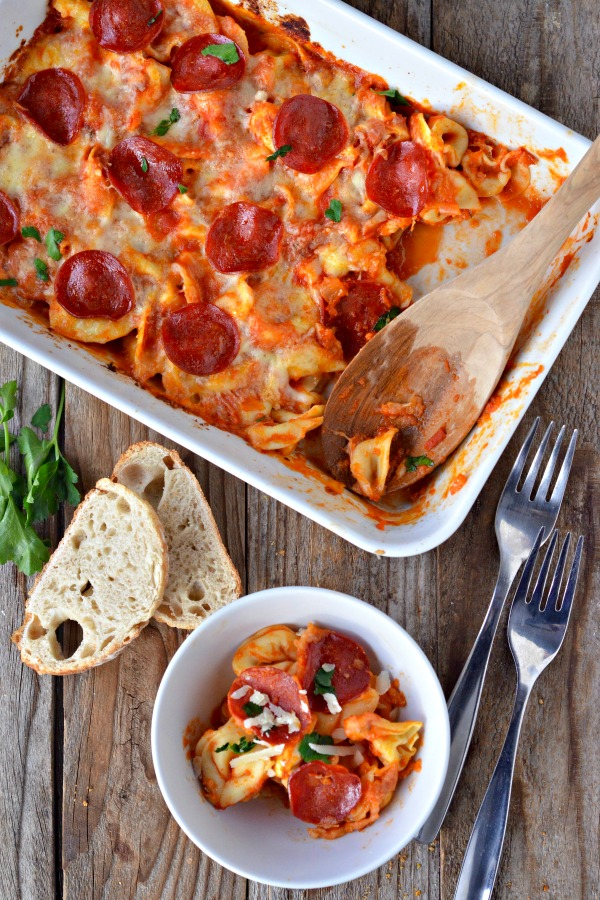 Cheesy Baked Tortellini with Pepperoni | mountainmamacooks.com