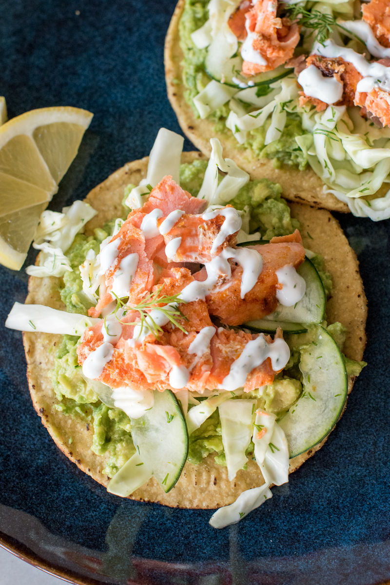 Salmon Tostadas with Dill Cucumber Slaw | www.mountainmamacooks.com