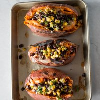 Black Bean Corn Salad Stuffed Sweet Potatoes | www.mountainmamacooks.com