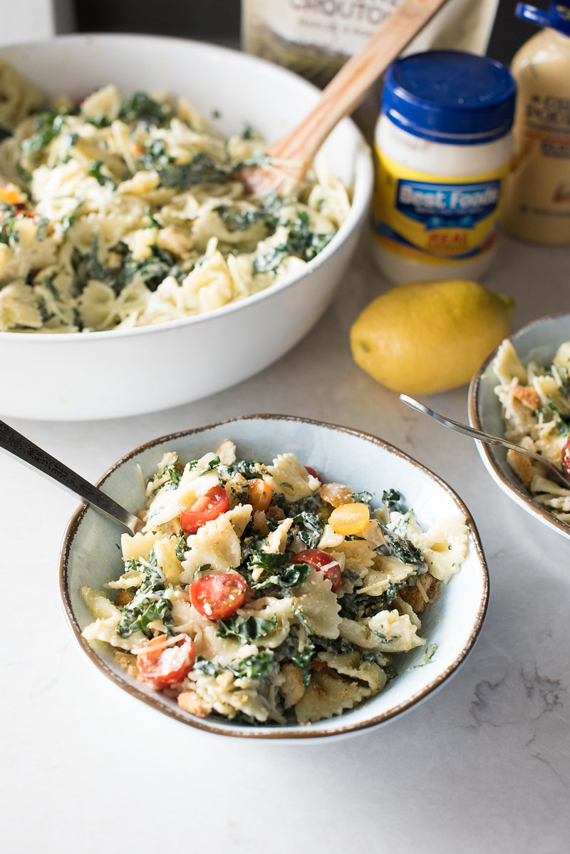 Kale Caesar Pasta Salad | www.mountainmamacooks.com