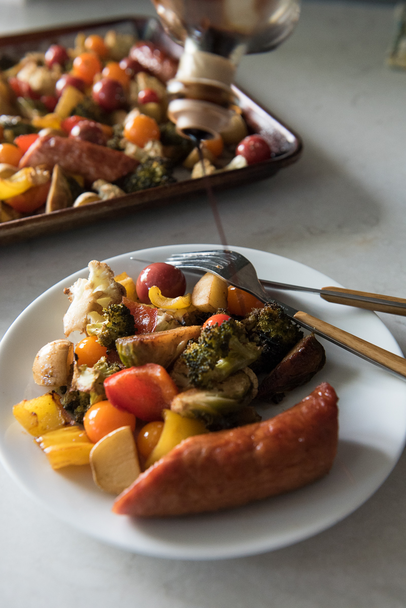 Sheet Pan Sausage with Honey Balsamic Vegetables | www.mountainmamacooks.com