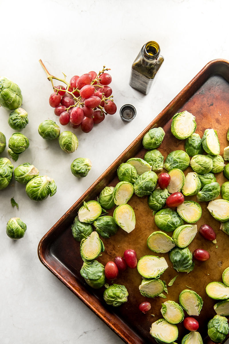 Roasted Brussels Sprouts with Grapes and Hazelnuts | www.mountainmamacooks.com