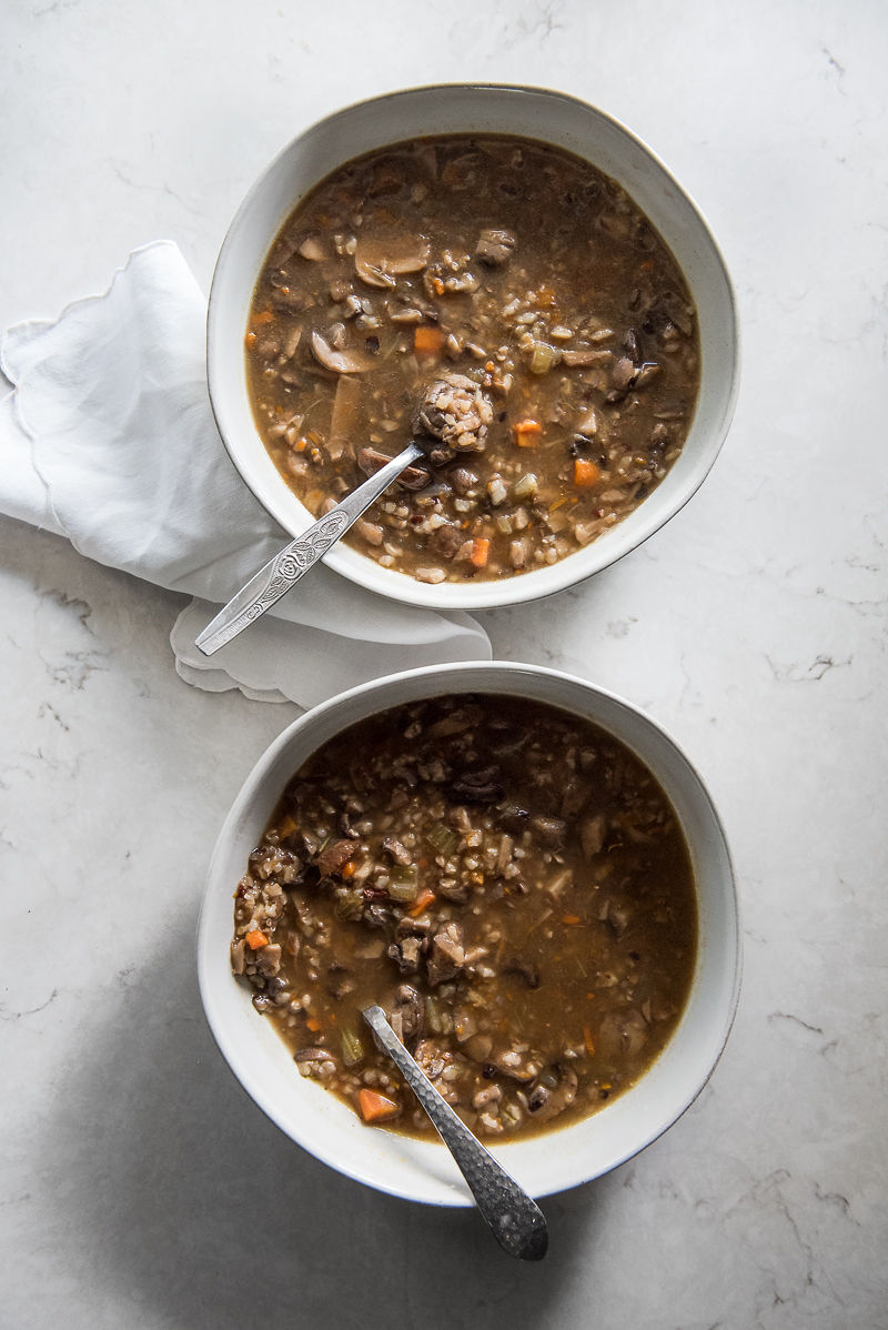 Instant Pot Mushroom and Wild Rice Soup | www.mountainmamacooks.com