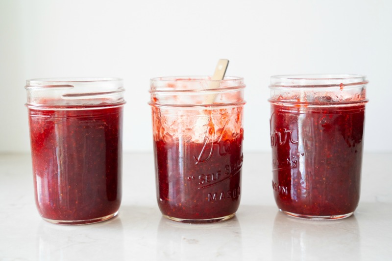 Three mason jars of the best homemade strawberry jam. You can can this recipe or store in the fridge. www.mountainmamacooks.com