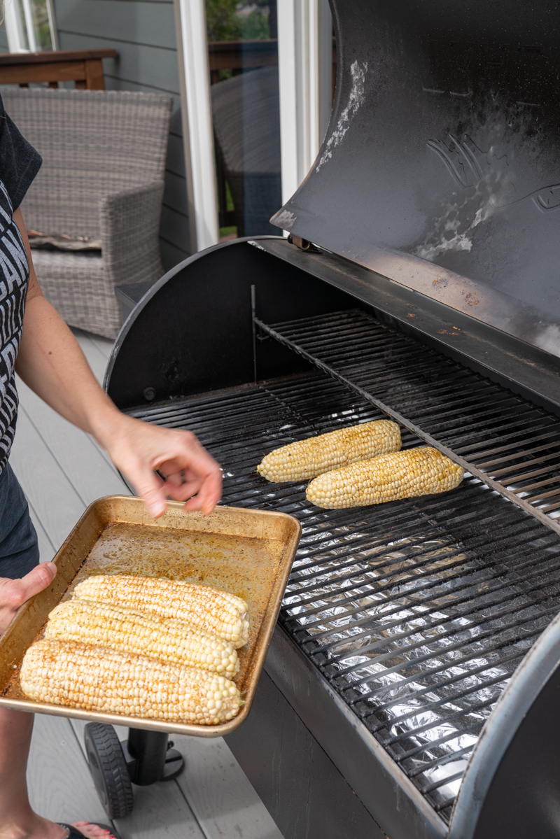The best way to cook corn is straight on the Traeger grill. www.mountainmamacooks.com