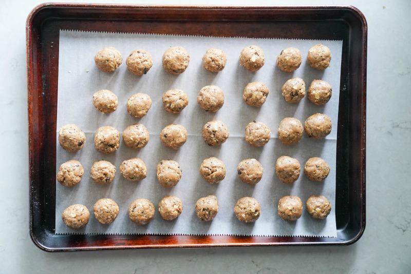 A full baking sheet of cinnamon oat protein bites made with kodiak cakes pancake mix.