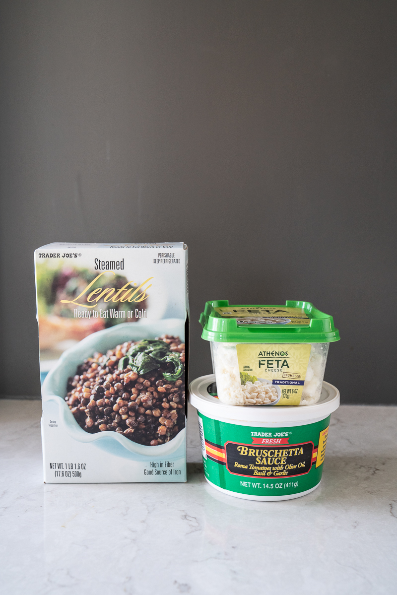 Three ingredients from Trader Joes to make the yummiest lentil bruschetta dip. www.mountainmamacooks.com