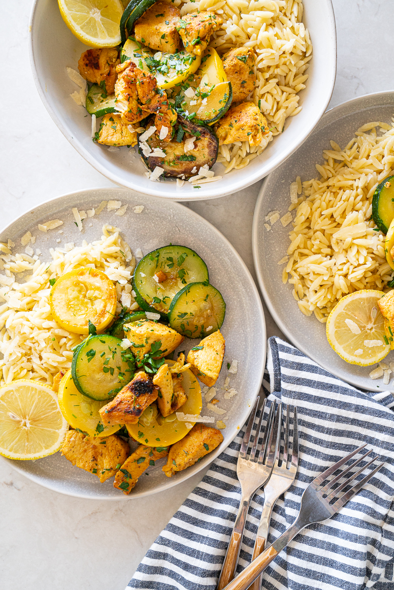 An easy weeknight dinner idea: Skillet Lemon Chicken with Squash & Parmesan is my go to and all the ingredients are easily accessible year round. www.mountainmamacooks.com