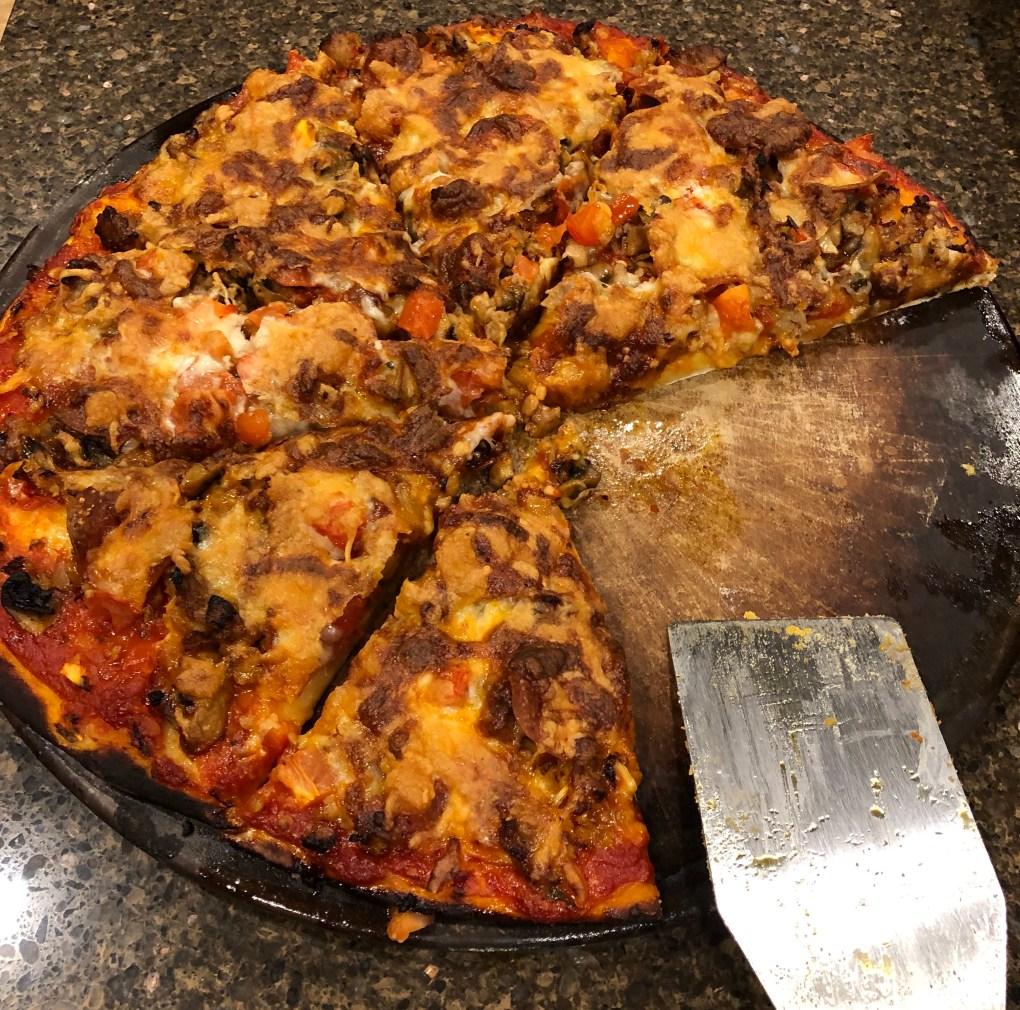 mushroom, sausage, pepperoni pizza