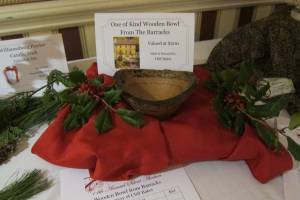 One of the auction items - a bowl made of wood from the historic Barracks Building in downtown Lewisburg
