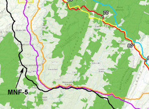 A Dominion Resources map showing a preferred and five alternative Atlantic Coast pipeline routes through the Monongahela National Forest and Pocahontas County.