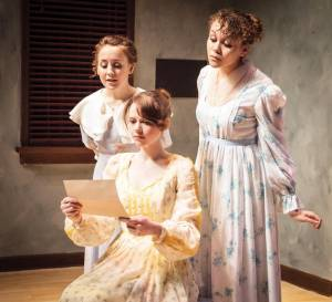 "Carly Brand, Katelynn Burns and Neely Seams in the GVTeen Conservatory 2013 spring showcase, ""Pride & Prejudice."" (Photo courtesy Greenbrier Valley Theatre)"