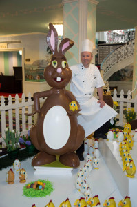 Executive Pastry Chef Jean-Francois Suteau and one of the chocolate statues on display at The Greenbrier