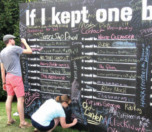 """The Lewisburg Literary Festival featured a giant chalkboard in the city Green Space titled, """"If I Kept One Book."""" Festival goers used chalk to fill in the blanks with their favorite books, which included The Bible, """"Alice in Wonderland,"""" the Harry Potter series, """"The Catcher in the Rye"""" and a thesaurus. (Photo courtesy of Scott Miller)"""