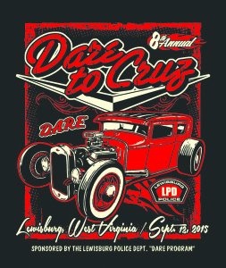 A Model-A hot rod is showcased on 2015 annual D.A.R.E. to Cruz Car Show commemorative T-shirt